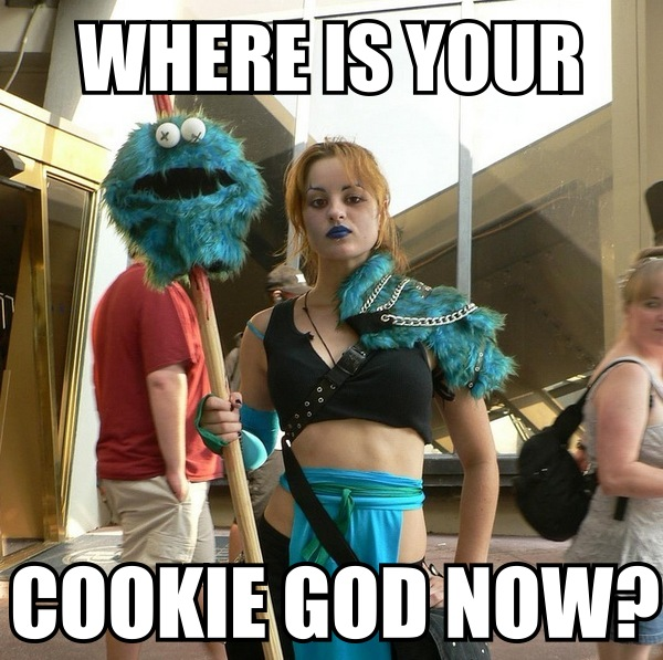 cookie monster where god now image macro