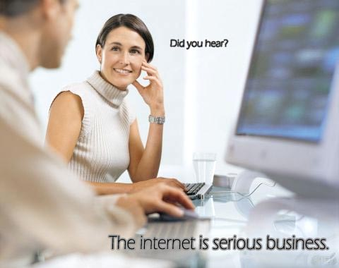 woman by computer pc advertisement internets serious business srs bsns image macro