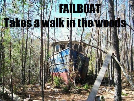 failboat walk in the woods meme image macro