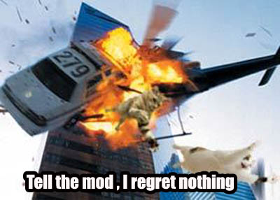 tell the mod regret nothing helicopter crash image macro