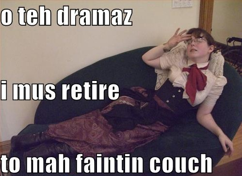 drama fainting couch delicate sensibilities girl victorian image macro
