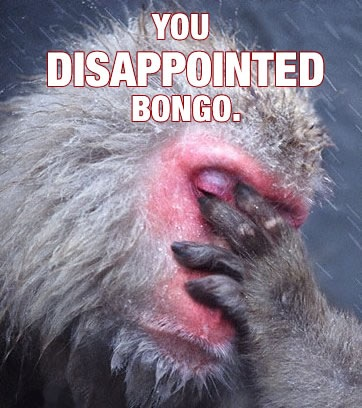 disappointed monkey bongo facepalm image macro