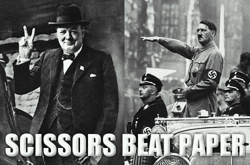 hitler churchill ww2 wwII scissors beat paper war zeig heil victory nazi image macro
