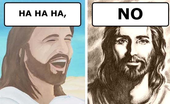 jesus christ christianity cartoon laughing solemn y/n image macro