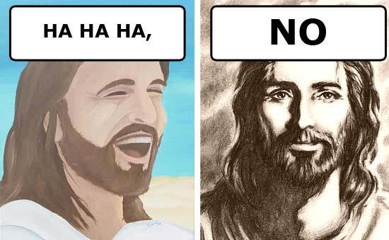 jesus christ christianity cartoon laughing solemn y/n image macro