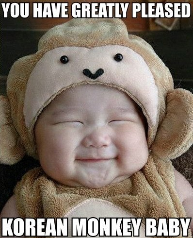 korean chinese japanese baby kid smiling happy monkey costume suit image macro