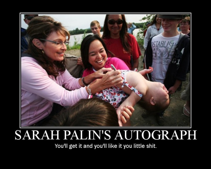 sarah palin autograph crying baby kid political image macro