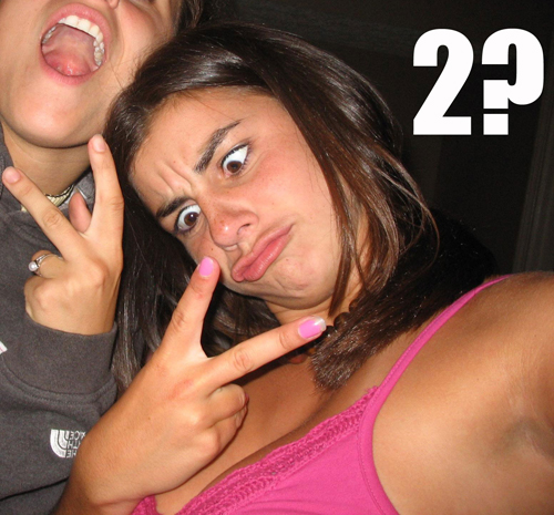 dumb chick two fingers math numbers image macro