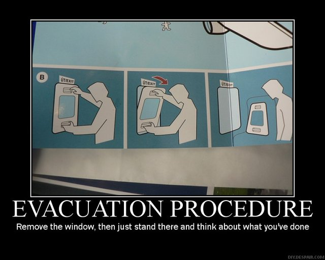 flight evacuation procedure airplane emergency image macro