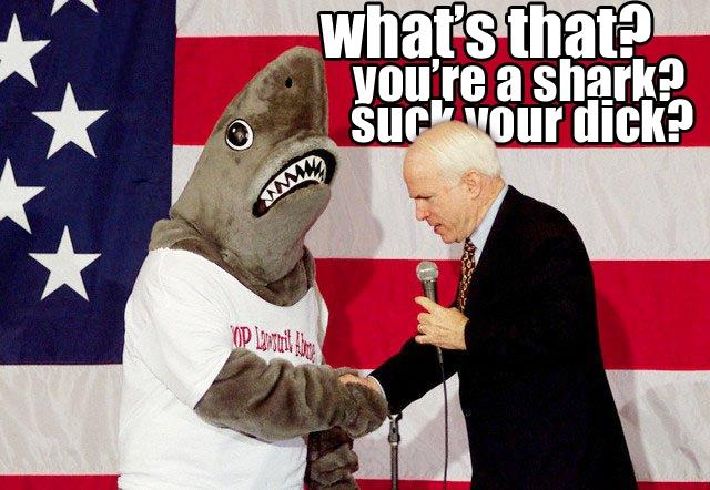 john mccain america flag shark suck my dick image macro