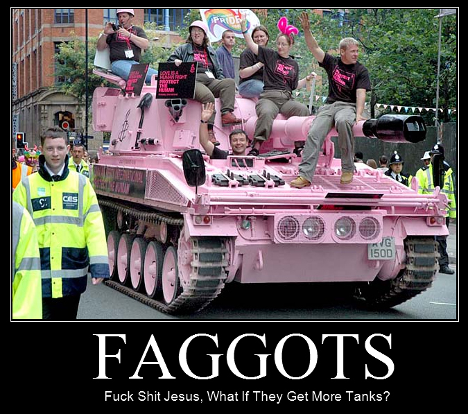 faggots faggotry pink tank fuck gay parade march image macro