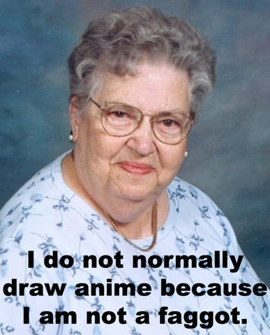 anime faggotry old lady image macro