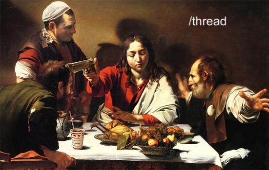 jesus christ caravaggio gun thread painting image macro