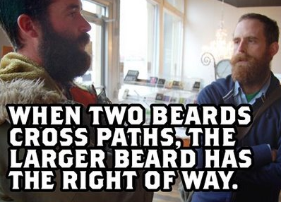 two beard cross paths right of way traffic moustache image macro