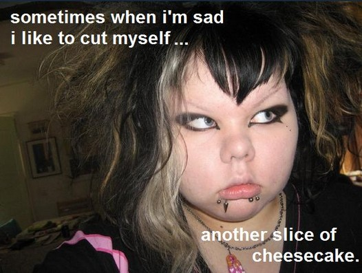 cheesecake cut myself self harm goth fattie piercings image macro