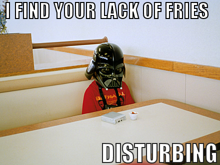 star wars lord darth vader lack of faith disturbing mcdonalds kid image macro