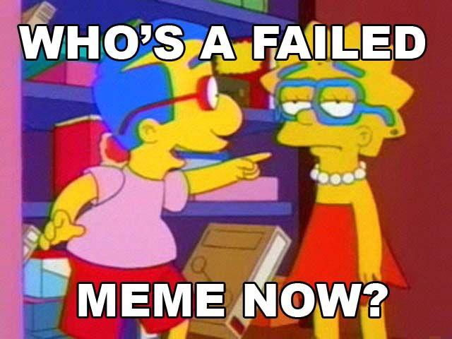 milhouse not a meme fail lisa simpsons pointing image macro