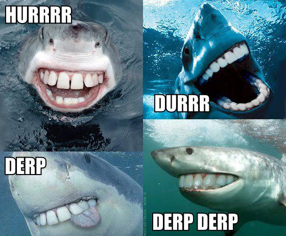shark derp derp derp hurr durr meme human teeth image macro