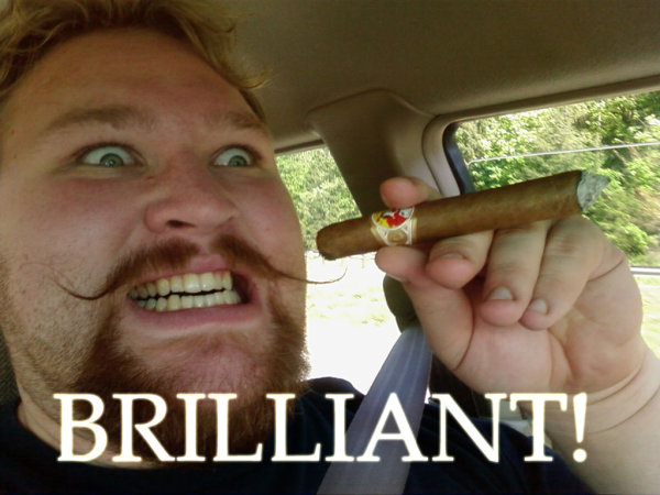 guy in car moustache mustache cigar teeth glee image macro