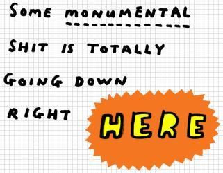 monumental shit wank drama handwritten writing graph paper image macro