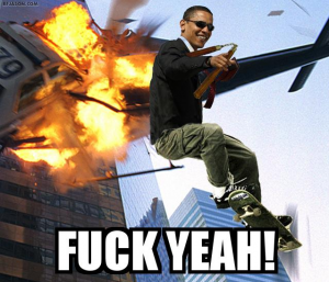 obama exploding helicopter skateboard flying image macro