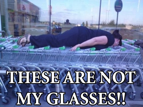 woman lying on supermarket trolleys glasses meme image macro