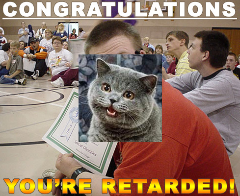 downs syndrome retarded certificate happy cat image macro