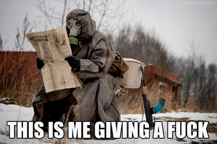toilet russian newspaper gas mask gun nobody cares meme image macro