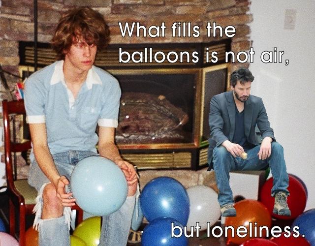 sad keanu reeves lonely balloons meme image macro