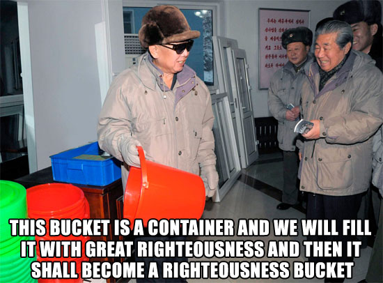 kim jong il with bucket korea image macro