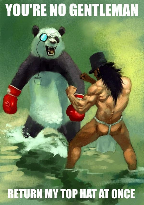 panda monocle boxing gloves fight top hat duel water image macro