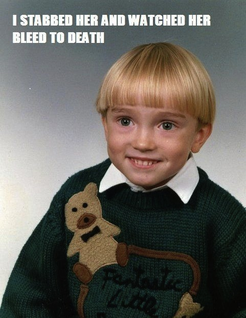 murder stabbing confession kid teddy sweater blonde boy innocent image macro